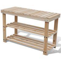 vidaXL Sapateira 2-em-1 com banco madeira de abeto maciça