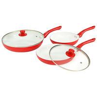 vidaXL 5 pcs conjunto frigideiras em alumínio vermelho