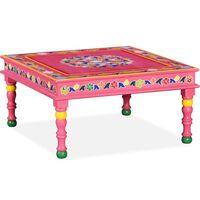 vidaXL Mesa de centro madeira mangueira maciça rosa pintada à mão