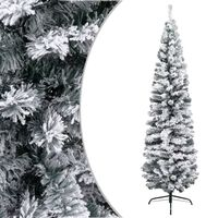 vidaXL Árvore de Natal artificial fina com neve 210 cm PVC verde