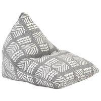 vidaXL Sofá/pufe retalhos de tecido cinzento