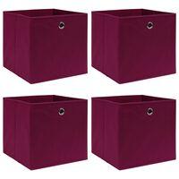 vidaXL Caixas de arrumação 4 pcs 32x32x32 cm tecido vermelho escuro