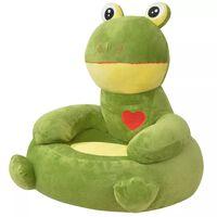 vidaXL Cadeira em pelúcia infantil, sapo, verde