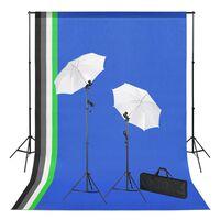 vidaXL Kit estúdio de fotografia com fundos iluminação e sombrinhas