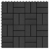 vidaXL Ladrilhos de pavimento 11 pcs WPC 1m² 30x30 cm preto