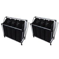 vidaXL Separadores de roupa suja com sacos 2 pcs preto e cinzento
