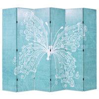 vidaXL Biombo dobrável com estampa de borboleta azul 228x170 cm
