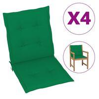 vidaXL Almofadões para cadeiras de jardim 4 pcs 100x50x4 cm verde