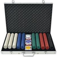 vidaXL Conjunto de póquer com 1000 fichas, alumínio