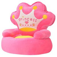 vidaXL Cadeira em pelúcia infantil, princesa, rosa