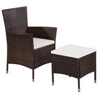 vidaXL Cadeira e banco de exterior com almofadões vime PE castanho