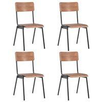 vidaXL Cadeiras de jantar 4 pcs contraplacado maciço e aço castanho