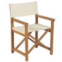 vidaXL Cadeira de realizador dobrável teca maciça branco nata