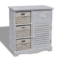 vidaXL Armário de madeira com 3 cestos do lado esquerdo branco