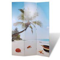vidaXL Biombo dobrável com estampa de praia 120x170 cm