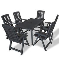 vidaXL Conjunto de jantar de exterior 7 pcs plástico antracite