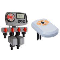 vidaXL Temporizador água autom. c/ 4 estações e sensor de humidade 3V