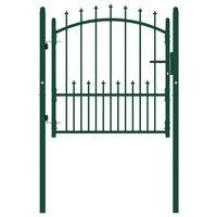 vidaXL Portão para cerca com espetos 100x100 cm aço verde