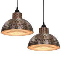 vidaXL Lâmpadas de teto, 2 pçs semi-esféricas, cobre