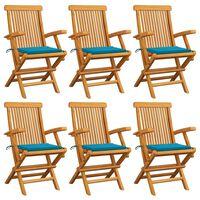 vidaXL Cadeiras de jardim com almofadões azuis 6 pcs teca maciça
