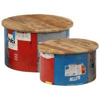 vidaXL Mesas de centro 2 pcs madeira mangueira maciça