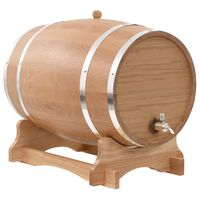 vidaXL Barril de vinho com torneira em madeira de carvalho maciça 35 L