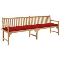 vidaXL Banco de jardim c/ almofadão vermelho 240 cm teca maciça