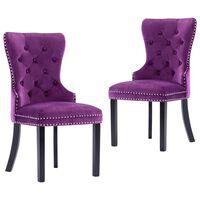 vidaXL Cadeiras de jantar 2 pcs veludo roxo