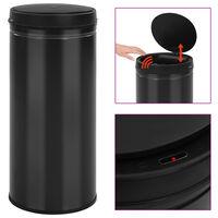 vidaXL Caixote do lixo com sensor automático 80 L aço carbono preto