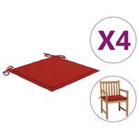 vidaXL Almofadões p/ cadeiras de jardim 4pcs 50x50x4cm tecido vermelho
