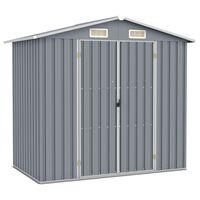 vidaXL Abrigo de jardim 205x129x183 cm aço galvanizado cinzento