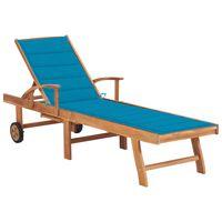 vidaXL Espreguiçadeira com almofadão azul madeira de teca maciça