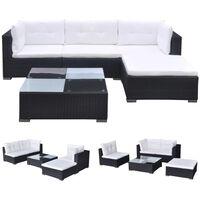 vidaXL 5 pcs conjunto lounge de jardim c/ almofadões vime PE preto