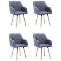 vidaXL Cadeiras de jantar 4 pcs tecido cinzento-claro