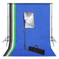 vidaXL Kit estúdio de fotografia com fundo e softbox de iluminação