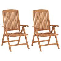 vidaXL Cadeiras de jardim reclináveis 2 pcs madeira de teca maciça