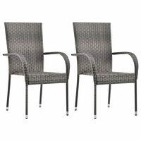 vidaXL Cadeiras de exterior empilháveis 2 pcs vime PE cinzento