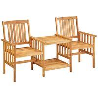 vidaXL Cadeiras de jardim c/ mesa de centro 159x61x92 cm acácia maciça