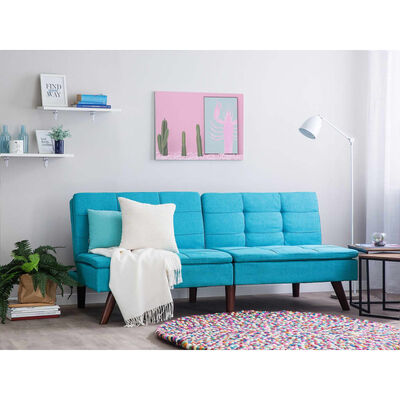 Sofá-cama em tecido azul turquesa RONNE