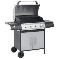 vidaXL Grelhador/barbecue a gás 4+1 zonas de cozinhar preto e prateado