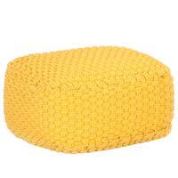 vidaXL Pufe tricotado à mão 50x50x30 cm algodão amarelo mostarda