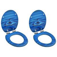 vidaXL Assentos sanita tampas fecho suave 2 pcs MDF design gotas água
