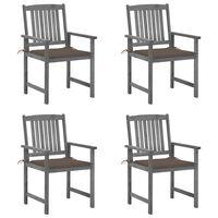 vidaXL Cadeiras de realizador com almofadões 4 pcs acácia maciça cinza