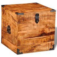 Bau quadrado de madeira de manga áspera