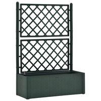 vidaXL Vaso/floreira c/ treliça e sistema de rega automática verde