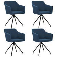 vidaXL Cadeiras de jantar giratórias 4 pcs tecido azul