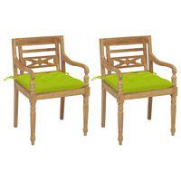 vidaXL Cadeiras Batávia c/ almofadões verde alface 2 pcs teca maciça