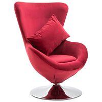 vidaXL Cadeira giratória em forma de ovo c/ almofadão veludo vermelho