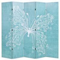 vidaXL Biombo dobrável com estampa de borboleta azul 200x170 cm