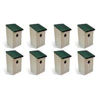 vidaXL Casas para pássaros 8 pcs madeira 12x12x22 cm